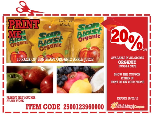 Organic Foods & Cafe coupon (apple juice)