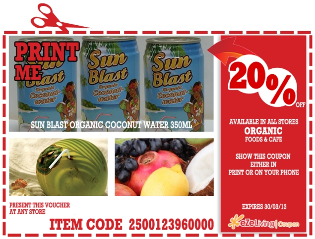 Organic Foods & Cafe coupon (coconut water)