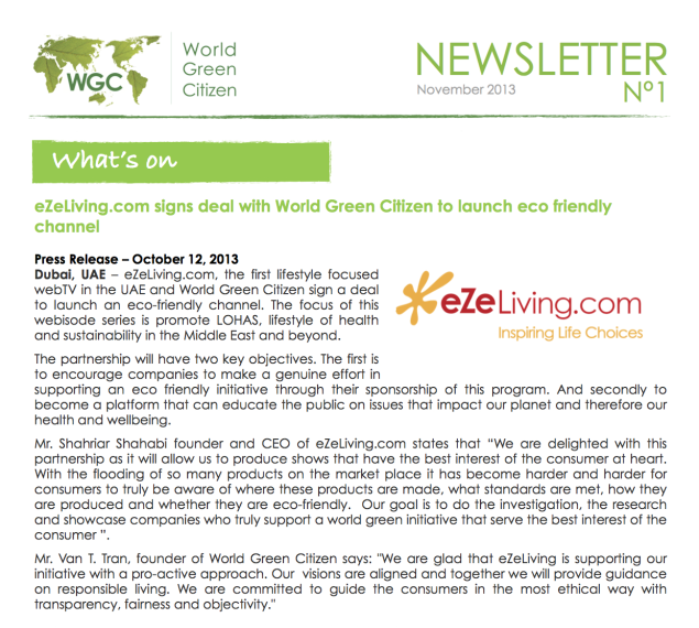 WGC & eZeLiving.com newsletter  - Nov 2013